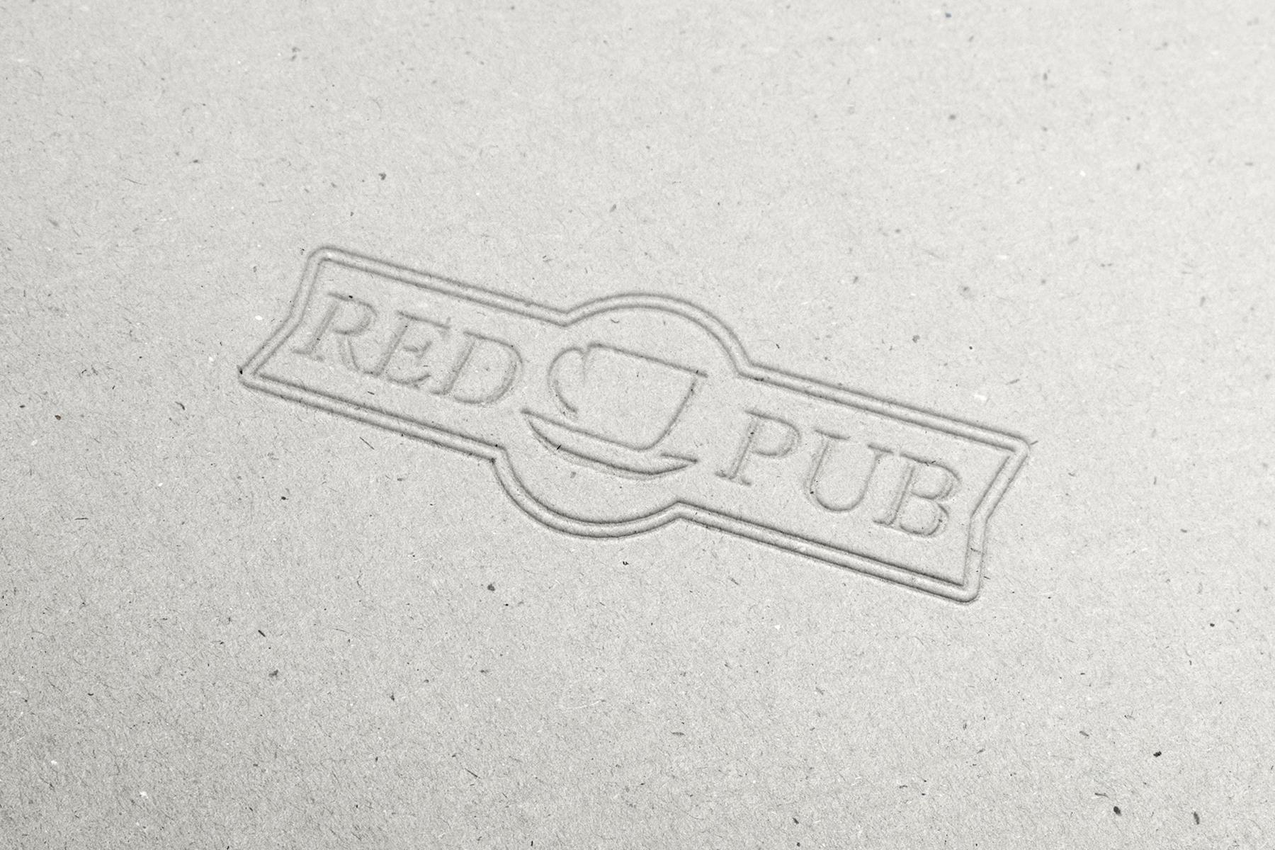 Red Cup Pub - тиснение на бумаге