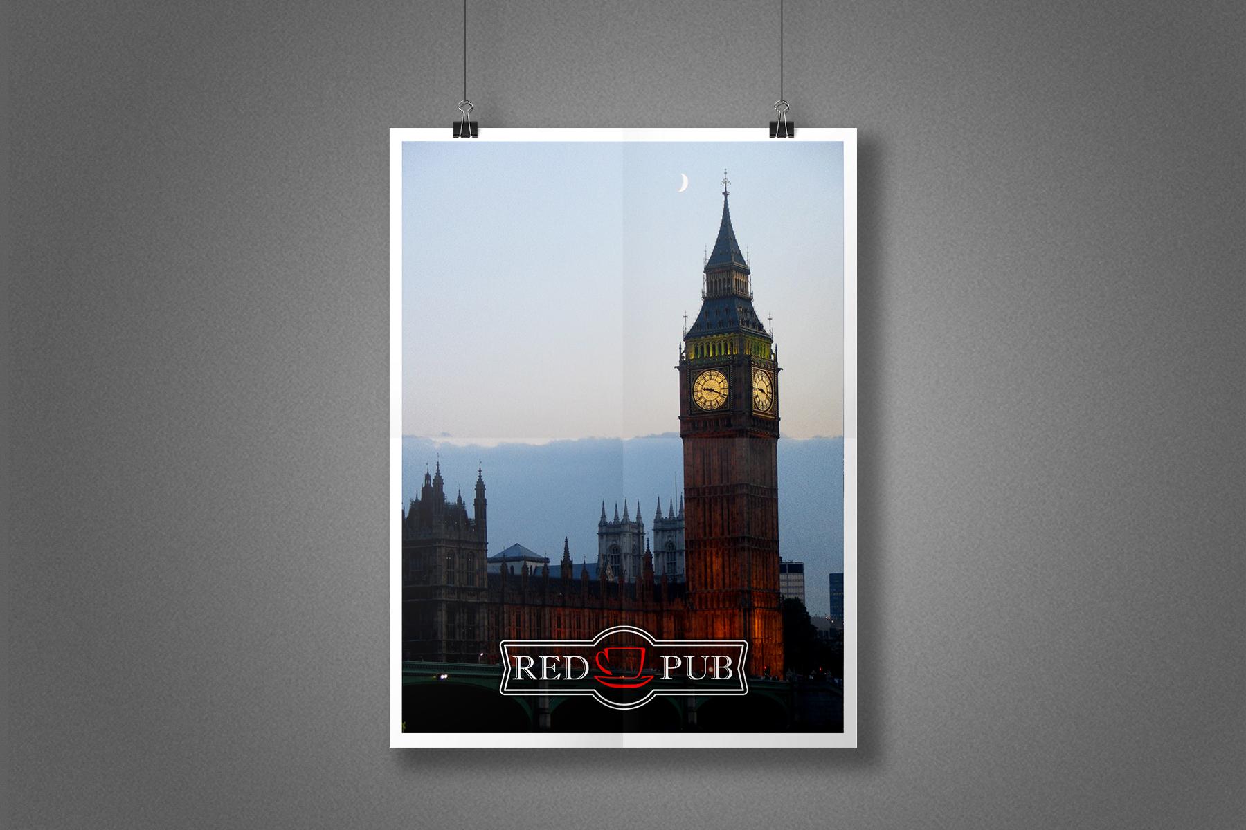 Плакат Red Cup Pub - Лондон, Биг Бен
