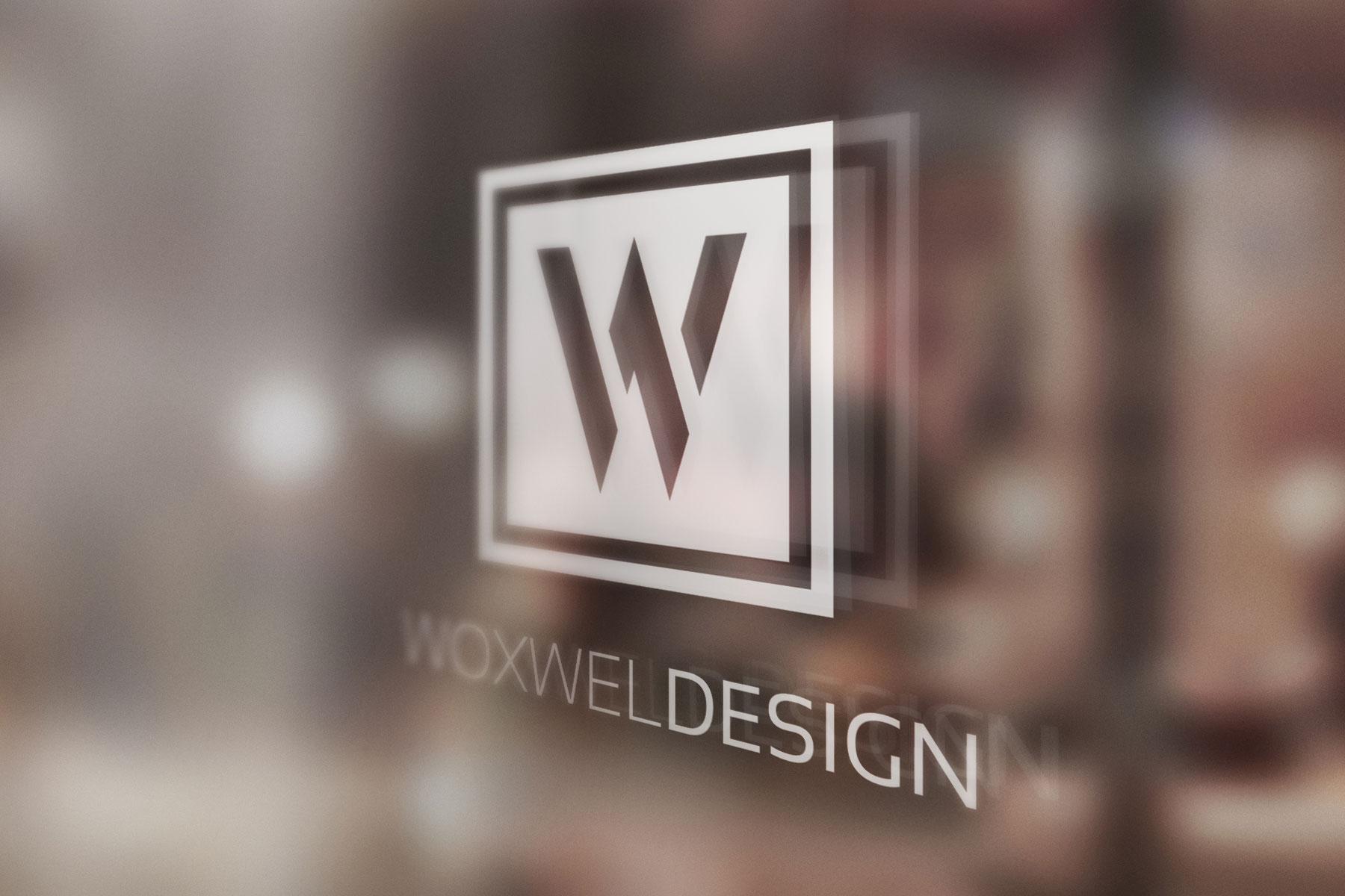 Логотип Woxwel Design - на стекле