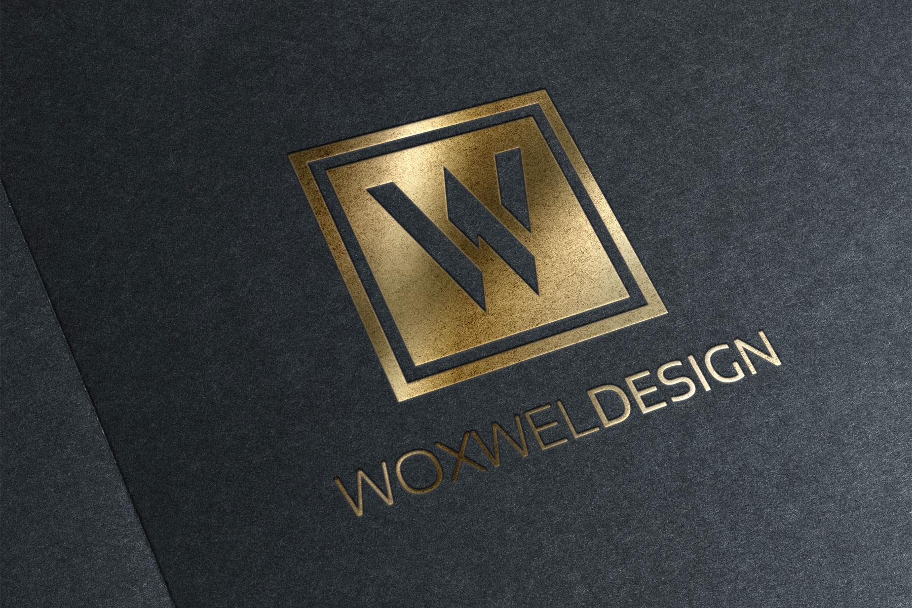Логотип Woxwel Design - золотое тиснение